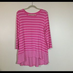 Pretty in Pink with White Stripes Top, size L